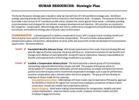 human resources business plan template strategic hr plan template plan template