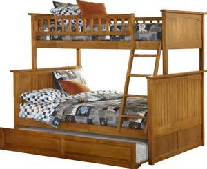 Wooden Bunk Beds With Trundle Ash Wooden Sliding Trundle Bed Using Striped
