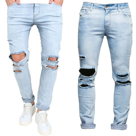 mens light blue jeans ripped men s blue ripped stretch skinny jeans all the best