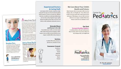 office brochure templates tri fold brochure template for pediatric office
