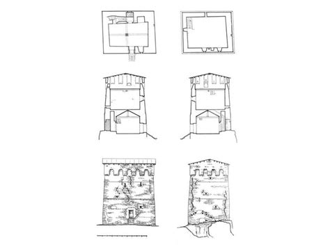 svaneti towers complex of fortified houses drawing of