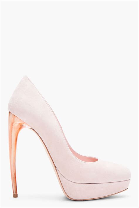 mcqueen pale pink suede pumps for