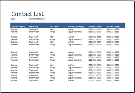 contact list template excel contact list template excel calendar template word