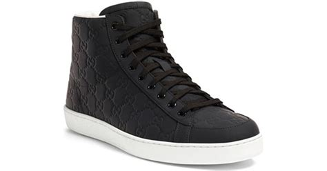 black and white gucci sneakers gucci high top sneaker in black for lyst