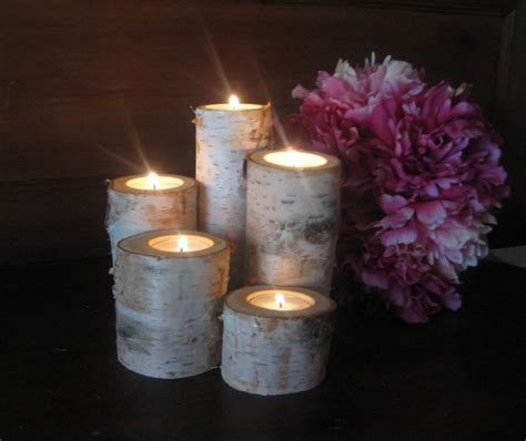 Table Candle Holders Centerpieces Birch Bark Log Tea Light Candle Holders For Your Wedding