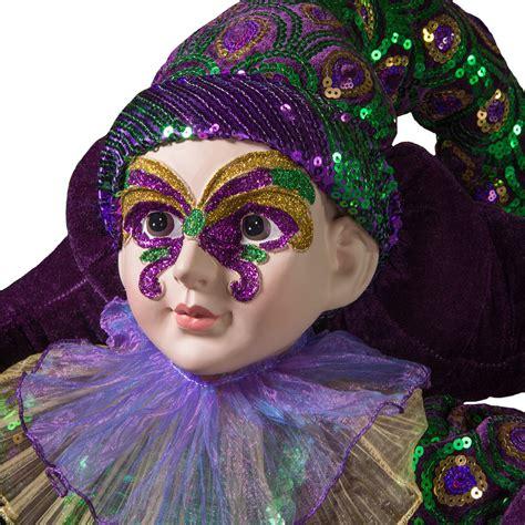 large standing masked ruffled mardi gras doll
