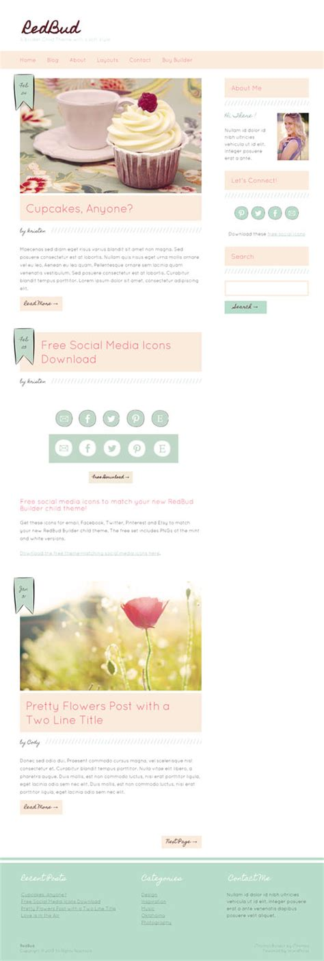 wp themes builder red bud a responsive feminine wordpress theme for the