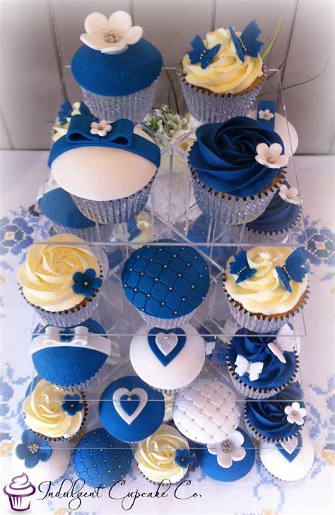 Wedding Anniversary Cupcakes by Royal Blue White Silver Wedding Anniversary Cupcakes