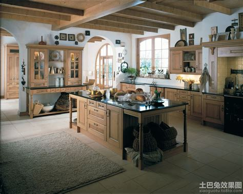 old town and country style kitchen pictures 美式乡村风格大厨房装修图片 土巴兔装修效果图