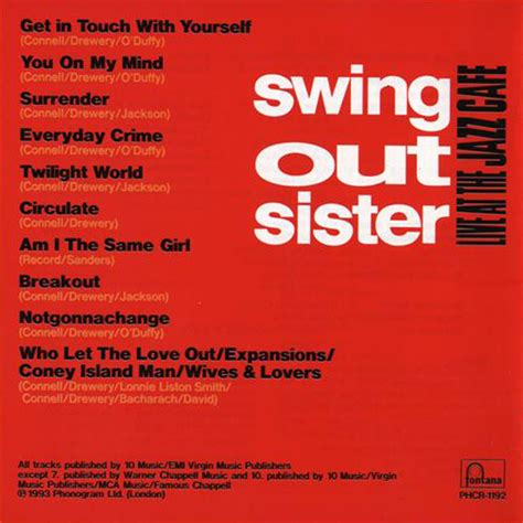 swing out sister live at the jazz cafe index of caratulas s swing out sister
