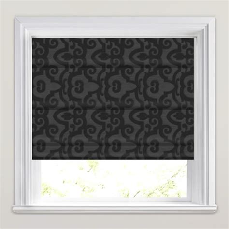 black patterned blinds shimmering black grey embossed damask patterned roman blinds