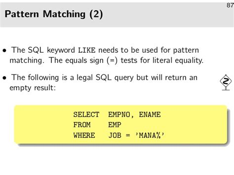 pattern matching sql introduction to the relational model and sql