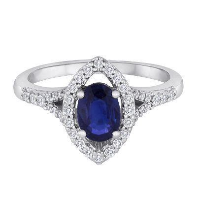 Blue Sapphire 1 9 Ct blue sapphire 1 4 ct tw ring in 14k white gold