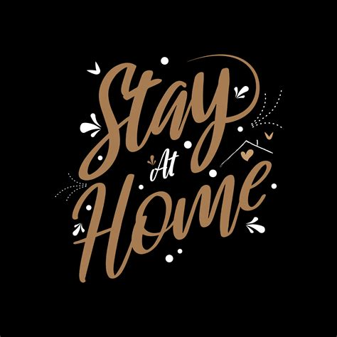 stay  home quote  gold color   vectors