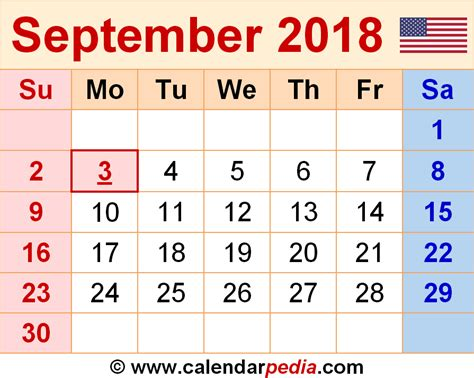 Calendar Sept 2018 September 2018 Calendars For Word Excel Pdf