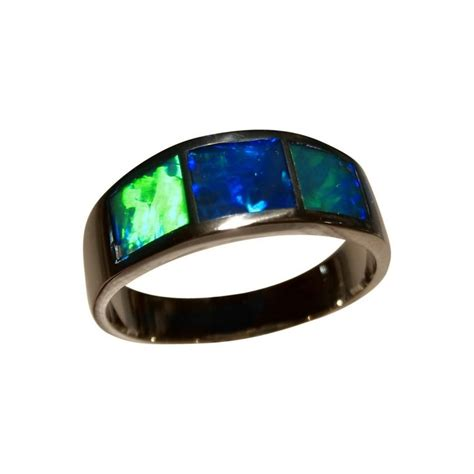 real blue opal opal ring 14k gold three green blue inlay opal rings