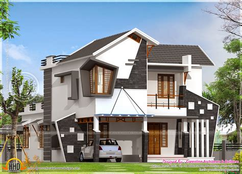 unique homes plans unique house exterior in 2154 square feet kerala home