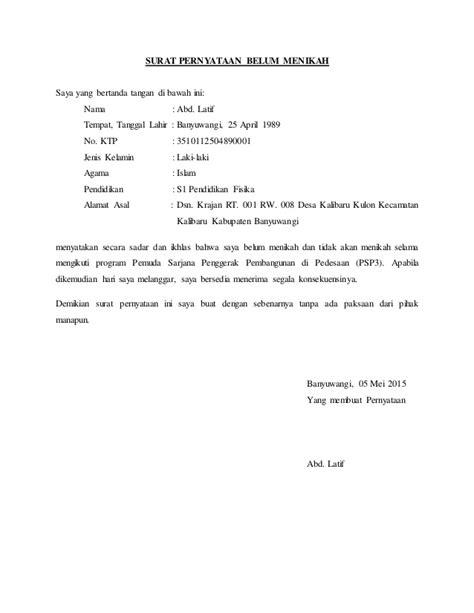 surat pernyataan belum menikah