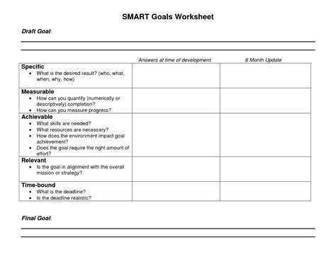 Smart Goal Setting Worksheet by Smart Goals Worksheet Pdf Free Worksheets Library