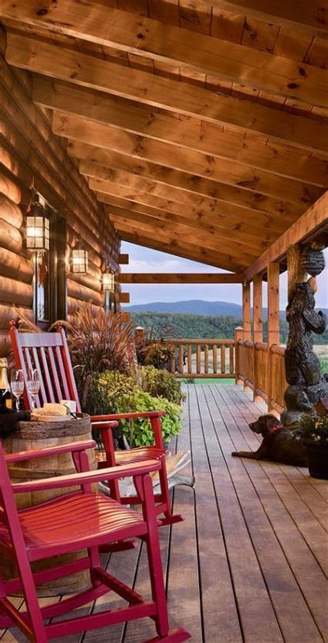 log cabin porch dreams decor pinterest log home porch love the bear carving
