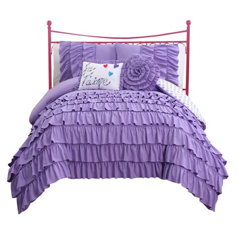 girls purple ruffle bedding teen girls bedding and