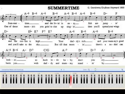 tutorial piano summertime summertime piano jazz 80 bpm with chords and melody sheet
