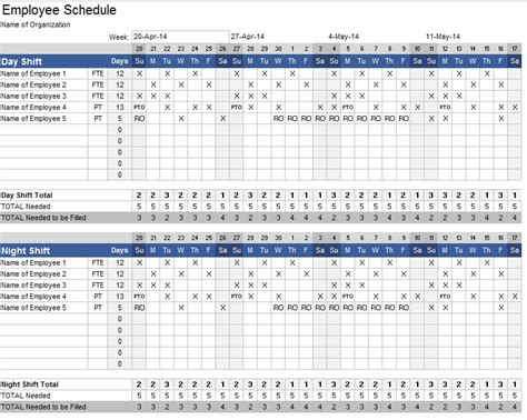 free printable work schedules weekly employee work