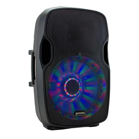 led light up speakers gemini as 15blu lt active speakers led stands duo pack