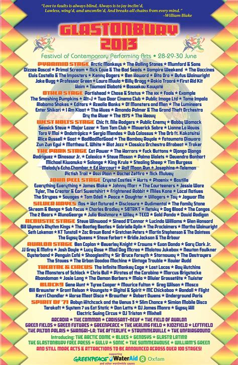 glastonbury festival line ups wikipedia the free glastonbury unveil full day by day line up for 2013