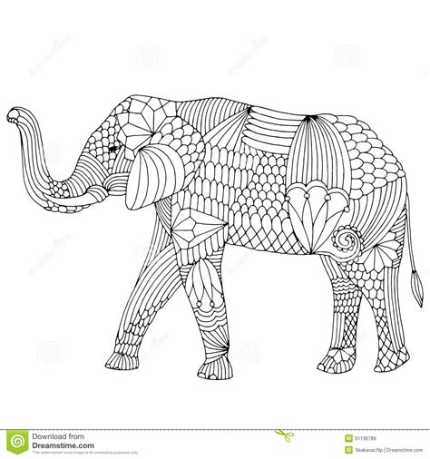 black and white elephant pattern embroidery pattern elephant stock vector image 51136789