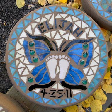 hand  butterfly mosaic memorial stepping stone