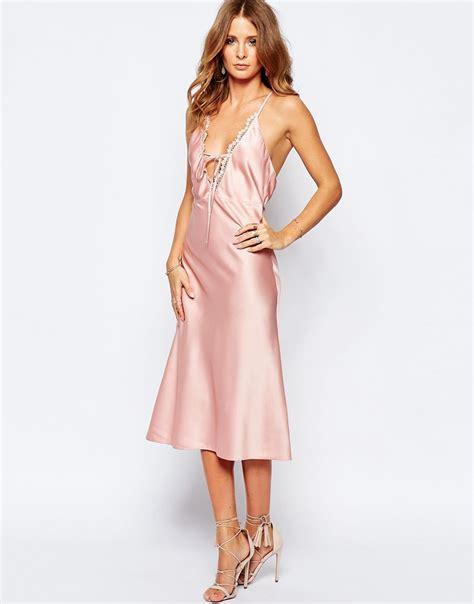 millie mackintosh slinky tie front slip dress in pink lyst