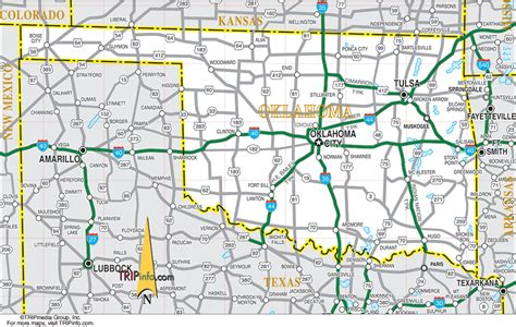road map of oklahoma and texas oklahoma map
