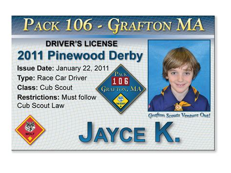 Pinewood Derby Drivers License Template pack 106 in grafton mass jayce k s race driver s license