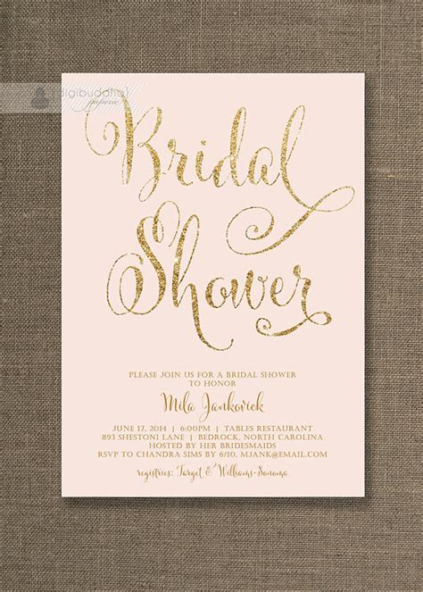 diy pink and gold wedding invitations blush pink gold bridal shower invitation by
