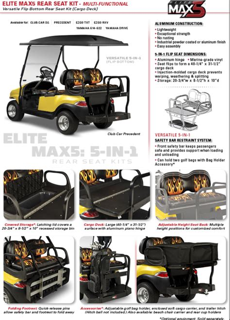 golf cart rear seat folding footrest max 5 rear flip flop seat with folding footrest club car