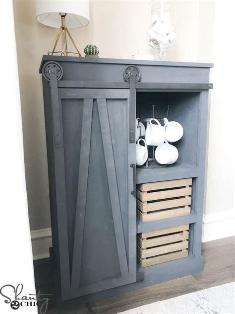 DIY Barn Door Coffee Cabinet   Shanty 2 Chic