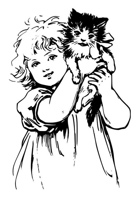 Coloring page girl with cat - img 27907.