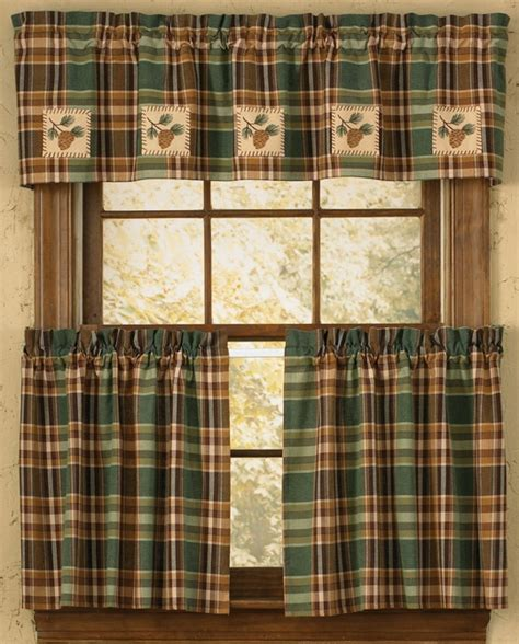 Lodge Themed Curtains Cabin Decor Curtains Pinecone Patch Lined Valance