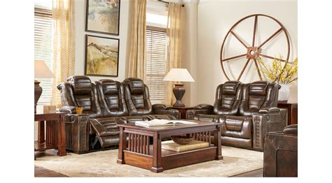 eric church creates highway to home furniture collection 2 949 99 eric church highway to home renegade brown leather 5 pc living room power