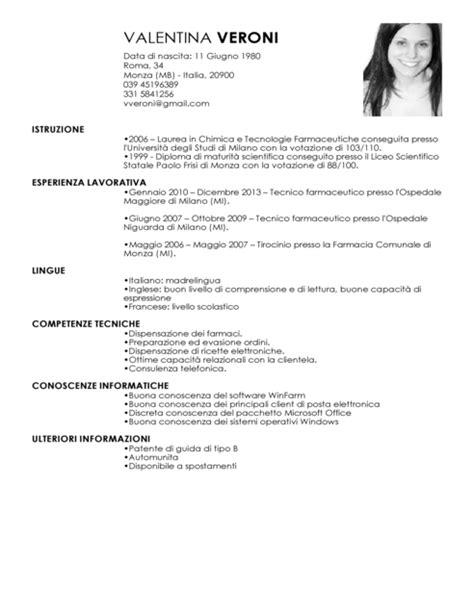 Modello Curriculum Vitae Farmacia Tecnico   Esempio CV