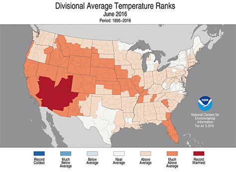 heat map of america heat wave lifts june to record temp for u s climate