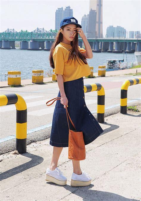 Buttoned Midi Skirt stylenanda buttoned denim midi skirt kstylick