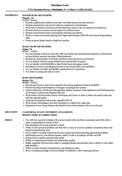 outstanding ruby on rails resume composition resume