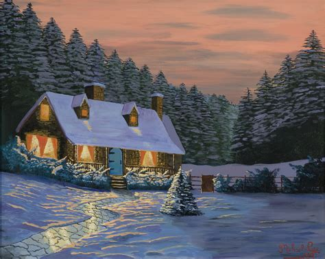winter cottage michael artist buy at kiptonart