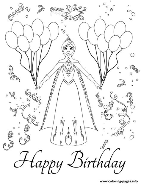 Disneys Frozen Anna Birthday Party Colouring Page Coloring