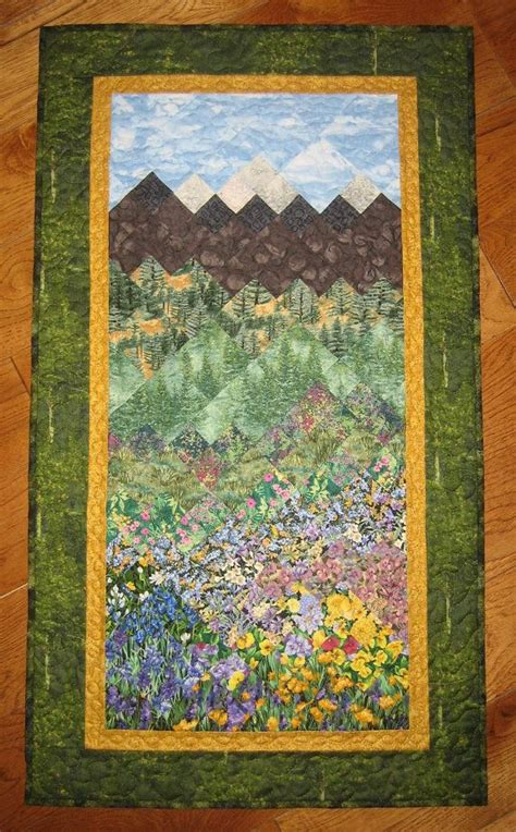Mountain Landscape Quilt Fabric Mountain Trees And Flowers Quilt Fabric Wallhanging