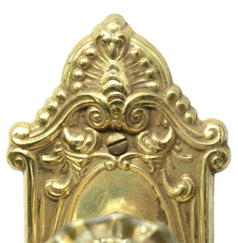 fluted glass knob with replica brass door plate olde