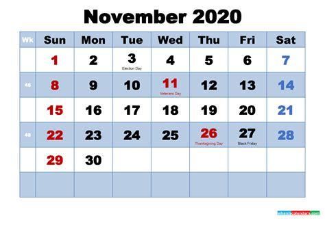 printable  calendar november  word   printable  calendar  holidays