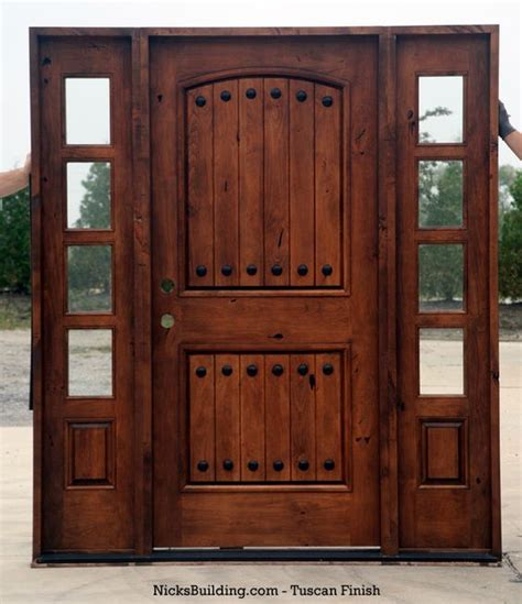 Rustic Knotty Alder Entry Doors With Sidelights Clearance Clearance Front Doors